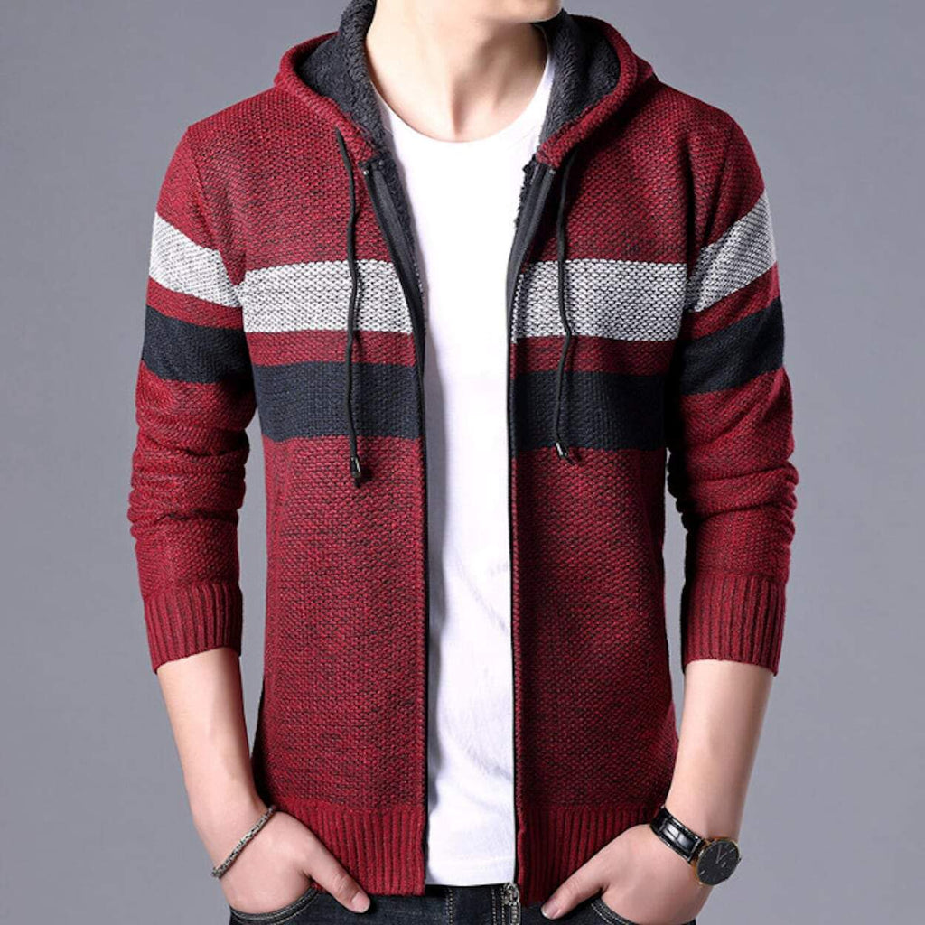 mens red polyester and cotton hooded zip up cardigan sweater