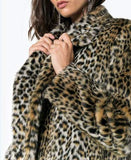 Womens Faux Fur Leopard Print  Overcoat with Pockets Design