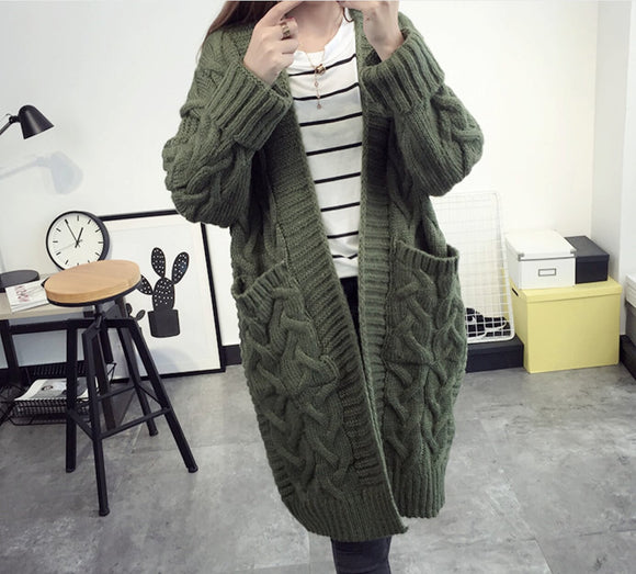 Womens Cable Knit Long Cardigan