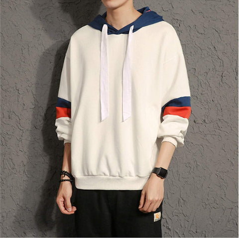 Mens Pullover Hoodie with Stripes