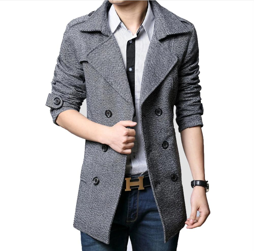 Mens Mid Length Double Breasted Trench Coat - AmtifyDirect