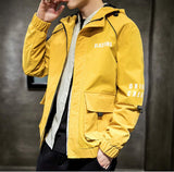 mens yellow polyester vegan friendly hooded jacket - AmtifyDirect