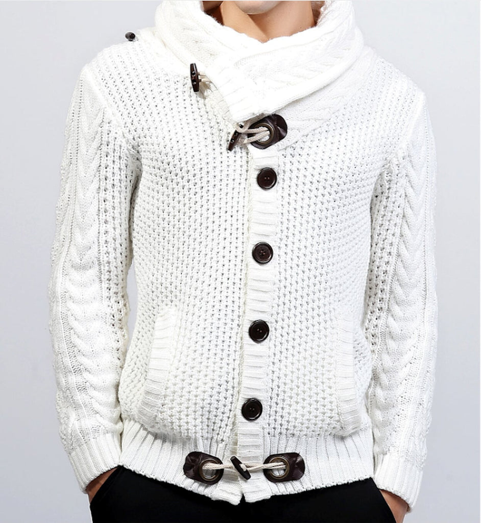 Mens white Shawl Collar Cardigan - AmtifyDirect
