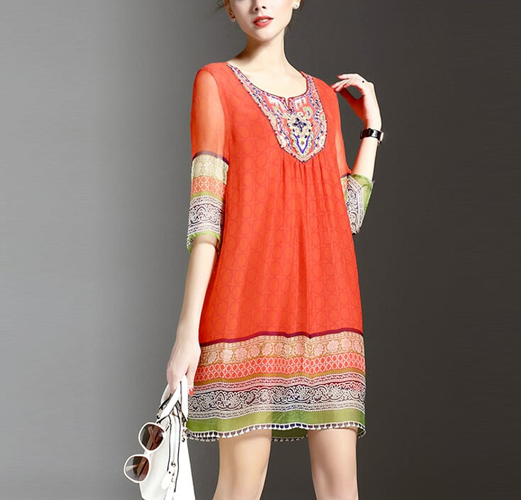Womens Beaded Chiffon Dress
