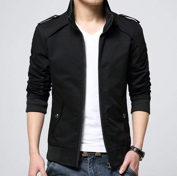 mens black polyester vegan friendly zip up jacket