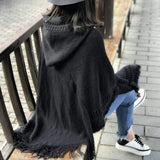 womens black acrylic blend vegan friendly hooded poncho - AmtifyDirect
