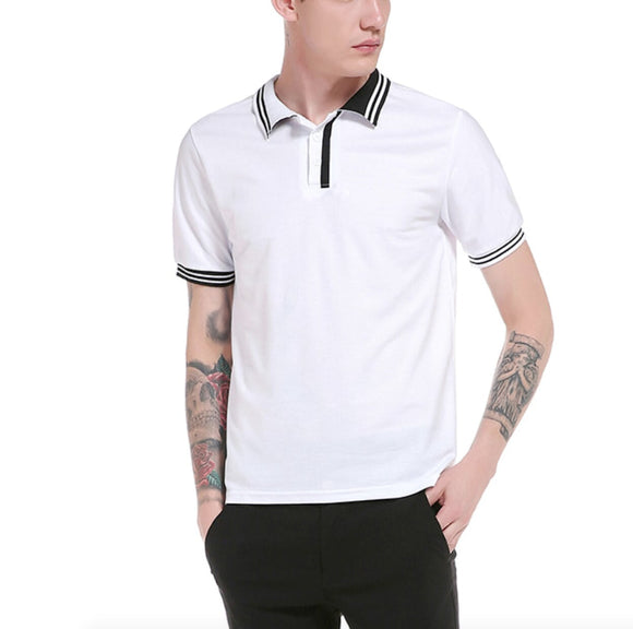 Mens Short Sleeve Polo Shirt with Contrasting Details