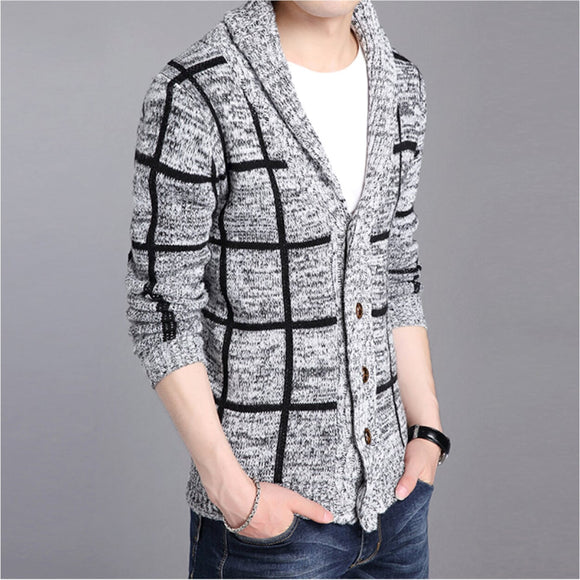 Mens Shawl Collar Plaid Cardigan - AmtifyDirect