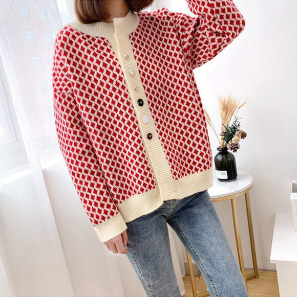 Womens Geometric  Print Cardigan