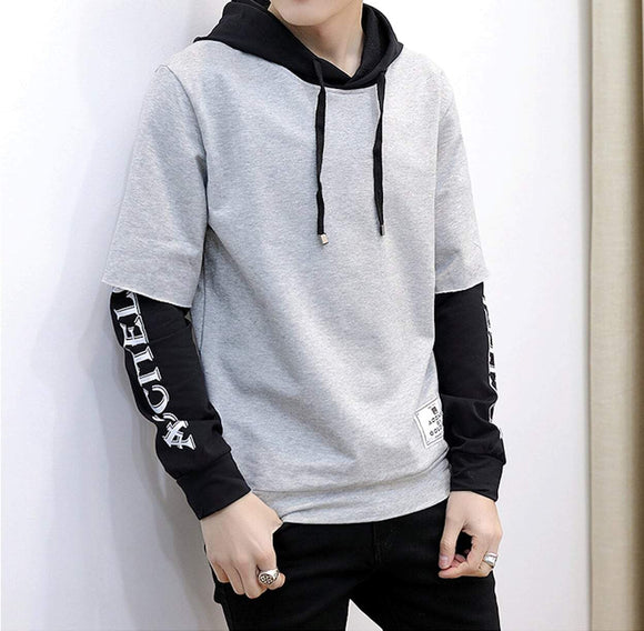 mens gray polyester vegan friendly two tone double layer hoodie