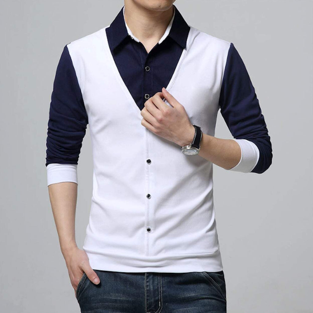 mens white polyester/cotton blend vest with attached shirt - Amtify Direct