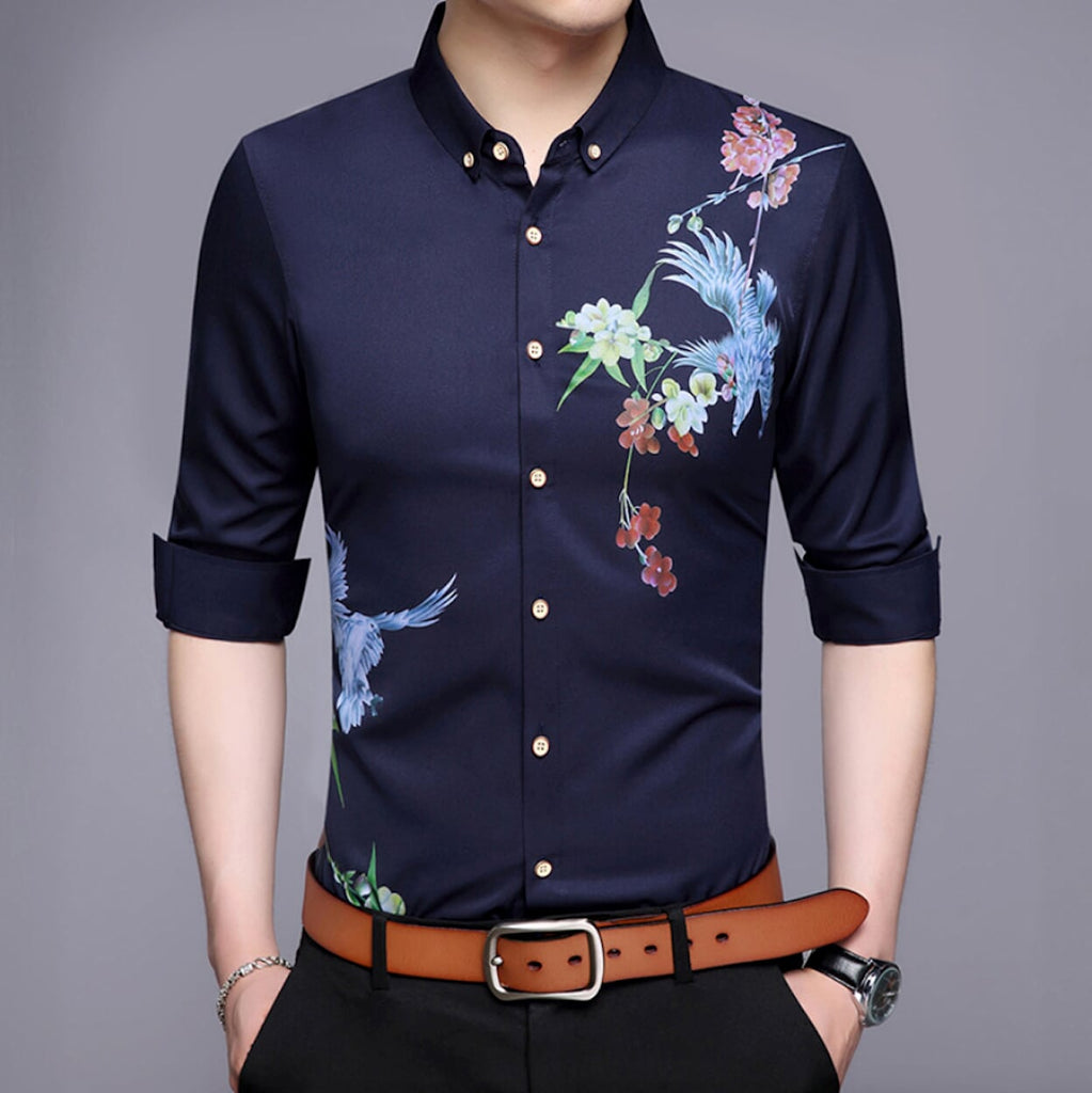 Mens Long Sleeve Swallow Print Shirt