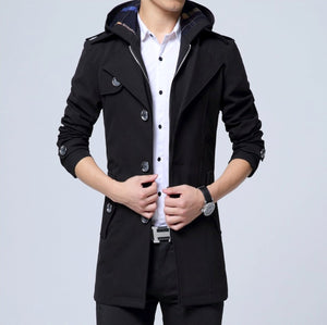 Mens Front Zip Trench Coat with Detachable Hood - AmtifyDirect