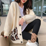 womens beige with leopard print pockets polyester button down cardigan