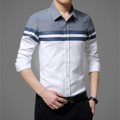 Mens Long Sleeve Color Block Shirt
