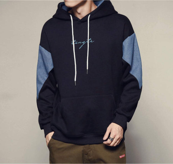 Mens Two Color Hoodie With Pocket