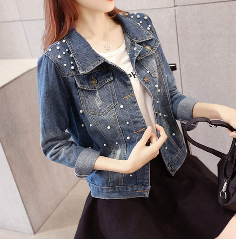 womens blue denim short jacket - AmtifyDirect