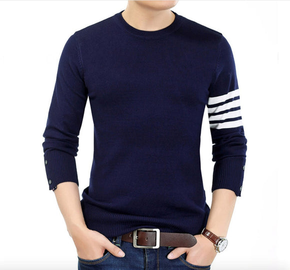 Mens Round Neck Sweater with Stripes - AmtifyDirect