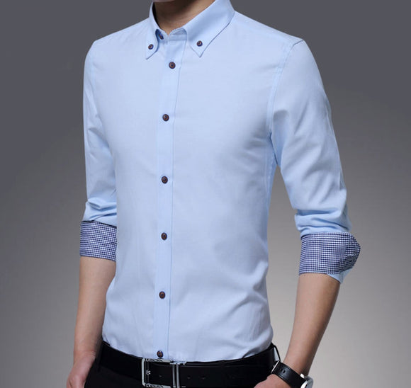 Mens Long Sleeve Shirt with Inner Plaid - AmtifyDirect