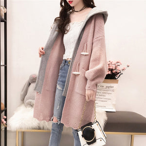 womens pink acrylic button front hooded long cardigan sweater - AmtifyDirect