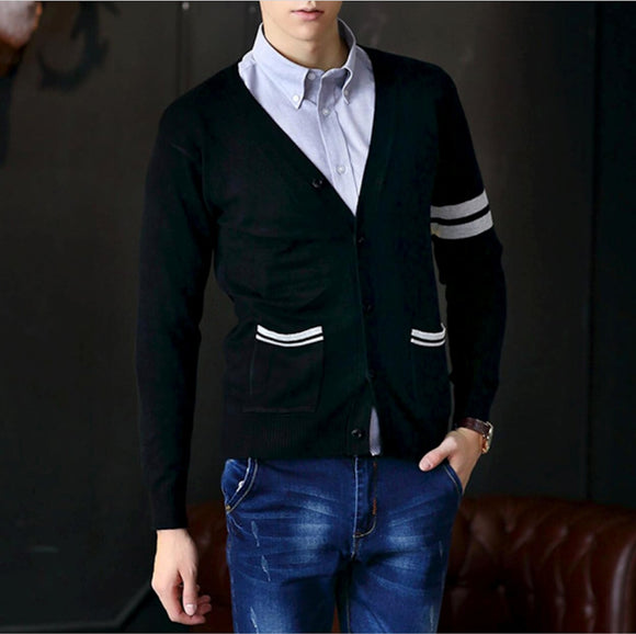 Mens Black Cotton Button Down Cardigan with Stripes - AmtifyDirect