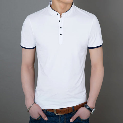 Mens Stand Up Collar Polo Shirt
