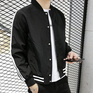 Mens Varsity Bomber Jacket with Stripes