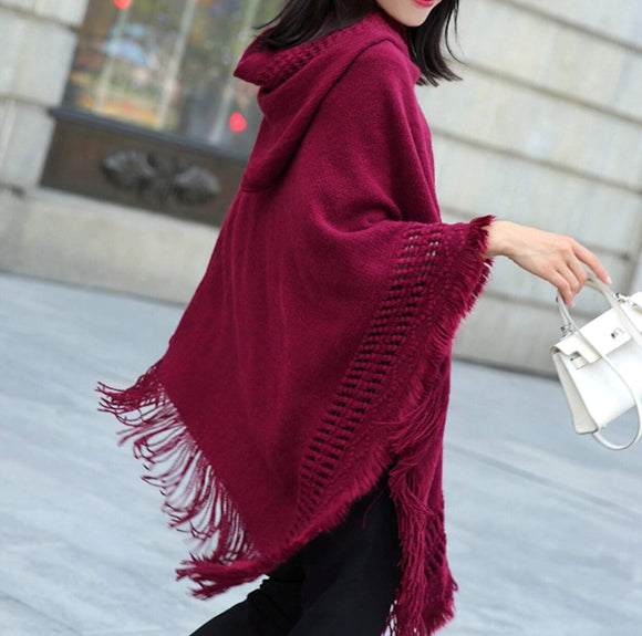 womens red acrylic blend vegan friendly hooded poncho - AmtifyDirect
