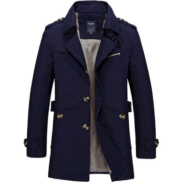 Mens Medium Length Trench Coat - AmtifyDirect
