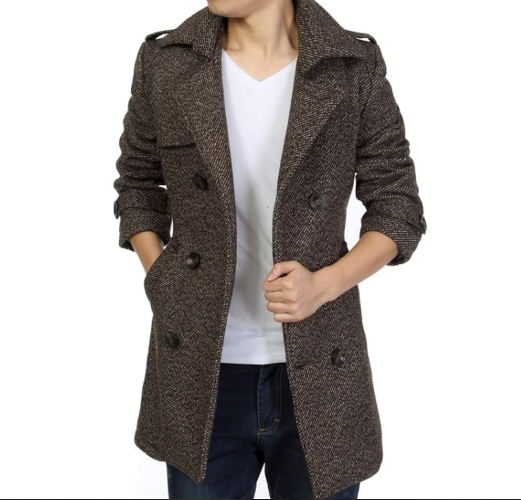 Mens Mid Length Belted Coat - AmtifyDirect