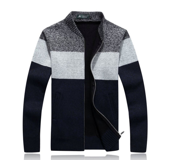 Mens Color Block Zipper Cardigan - AmtifyDirect