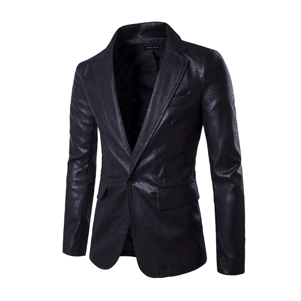 Mens Faux Leather Blazer - AmtifyDirect