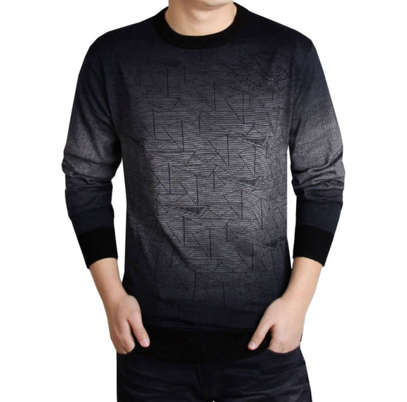 Mens gray polyester vegan friendly  Geo Print Knit Top - AmtifyDirect