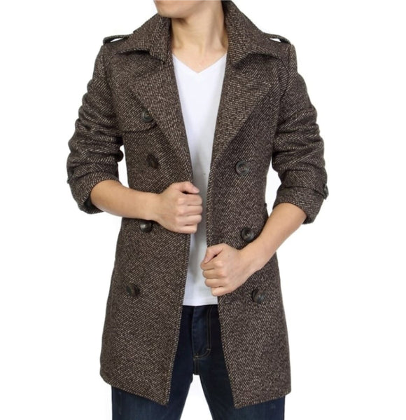 Mens Brown polyester Mid Length Belted Coat - AmtifyDirect