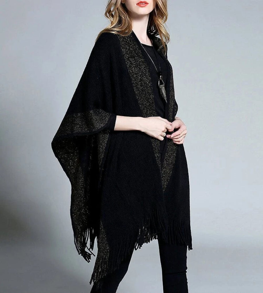 Womens Poncho with Fringes