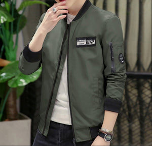 Mens Zip Up Bomber Jacket with Badge