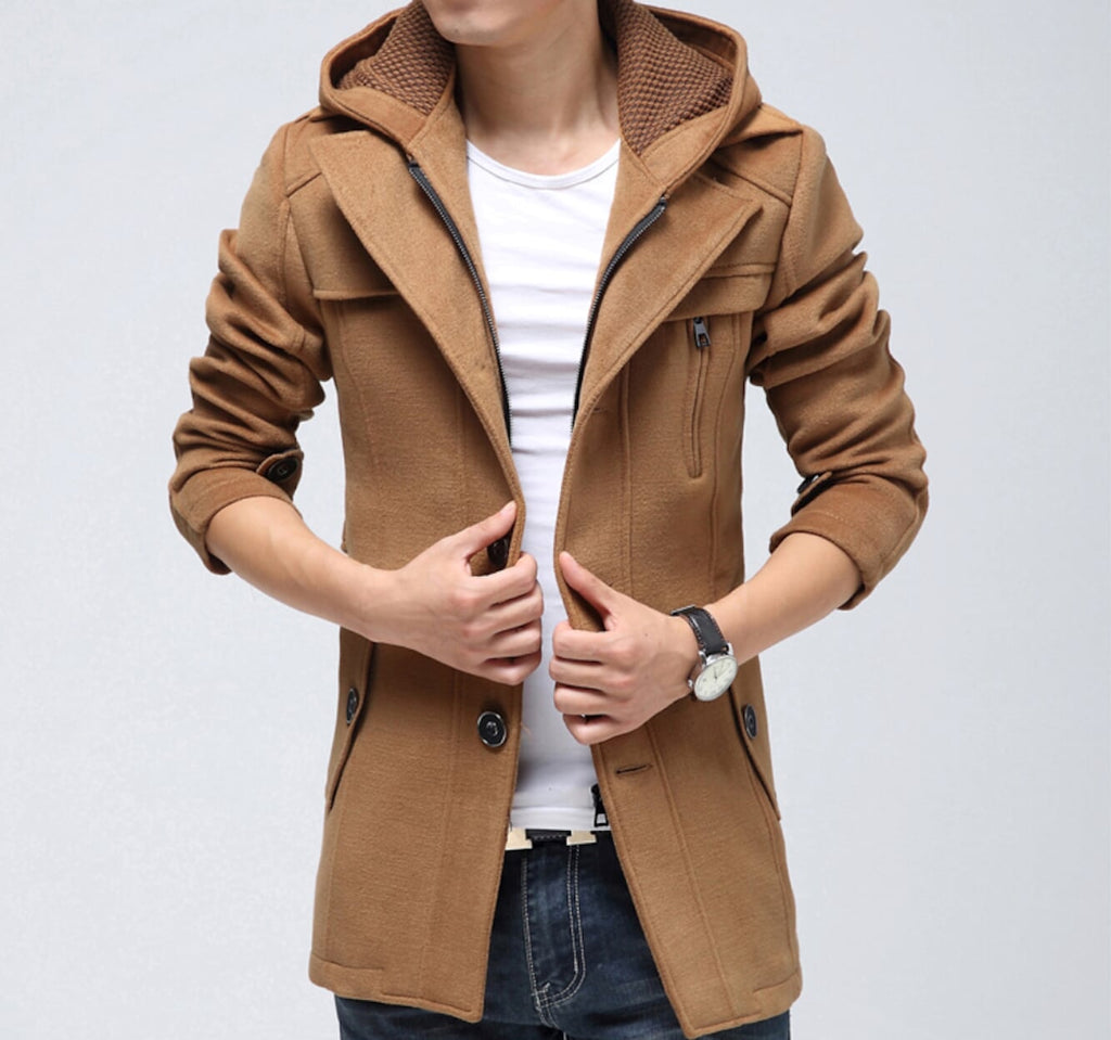 Mens Coat with Detachable Hood - AmtifyDirect