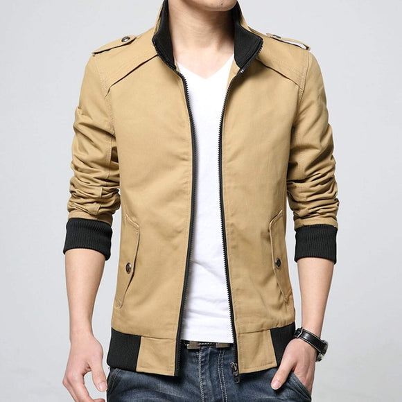 mens khaki polyester vegan friendly zip up jacket