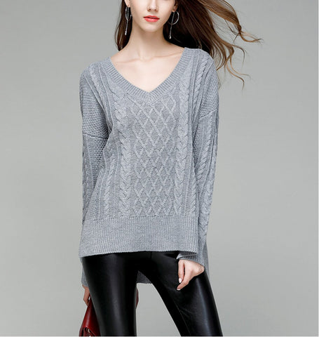 Womens V Neck Cable Knit Sweater