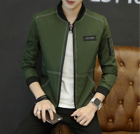 Mens Bomber Jacket with Top Stitching - AmtifyDirect
