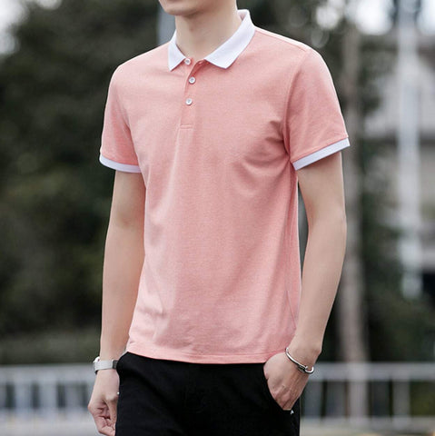 Mens Short Sleeve with White Collar