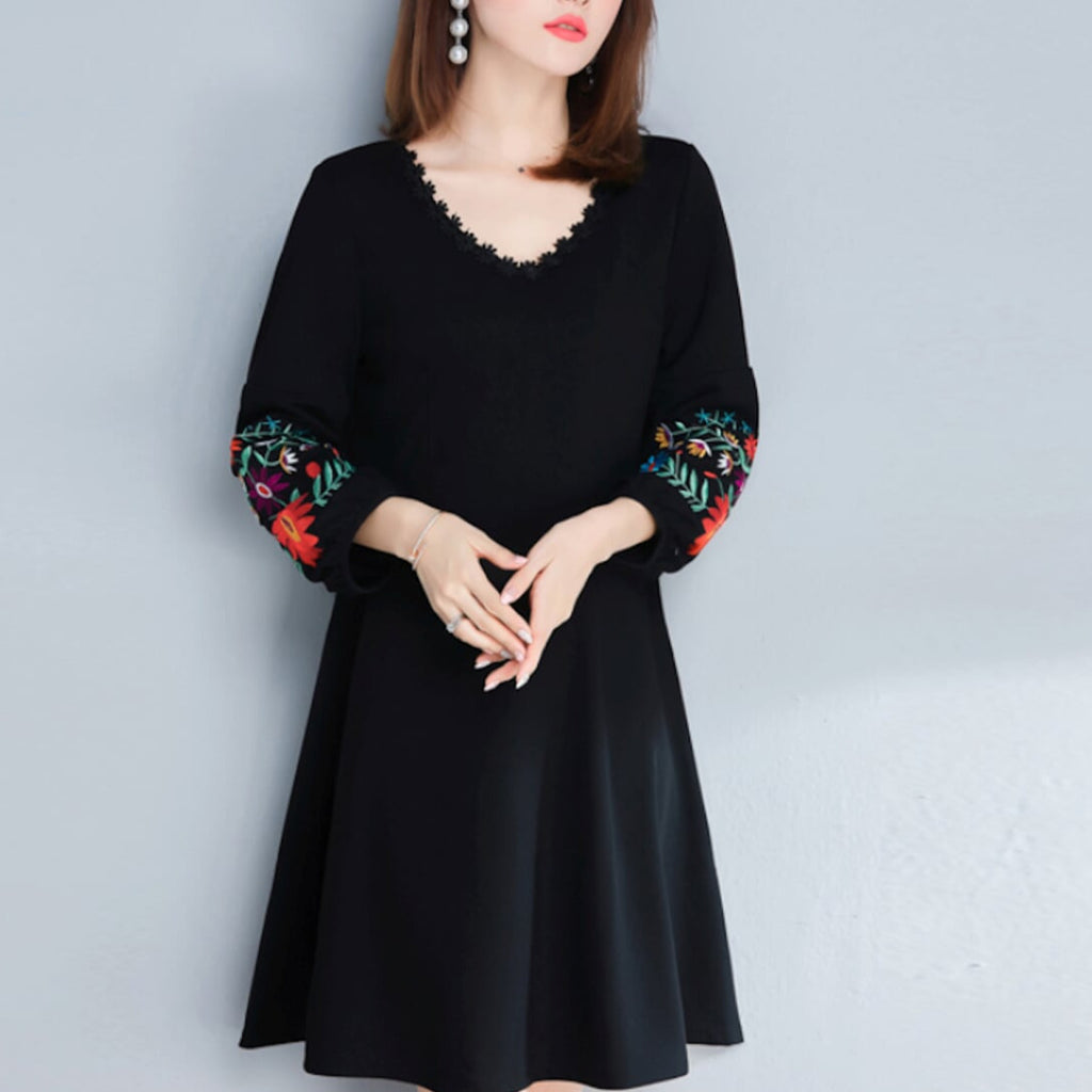 womens black w/embroidered sleeves cotton blend machine wash & dry dress - AmtifyDirect