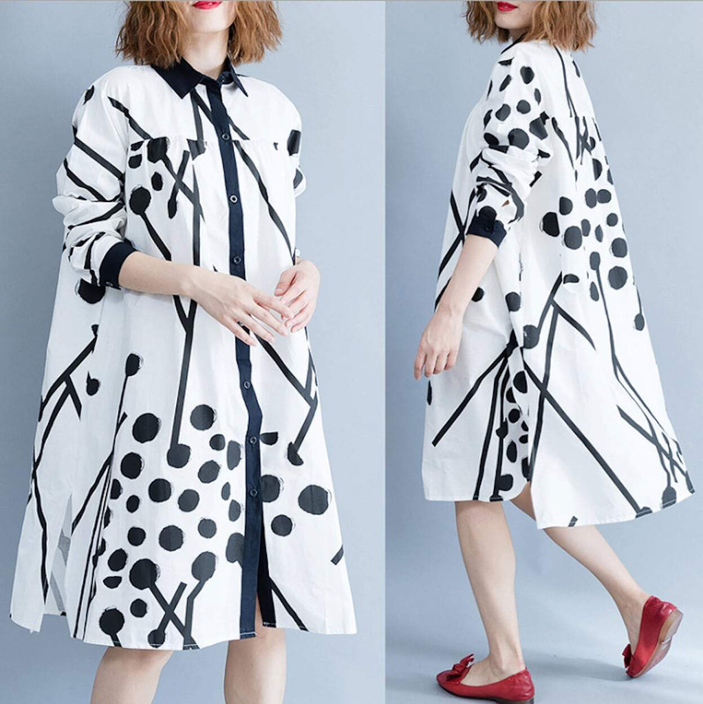 Womens Abstract Print Shirt Dress
