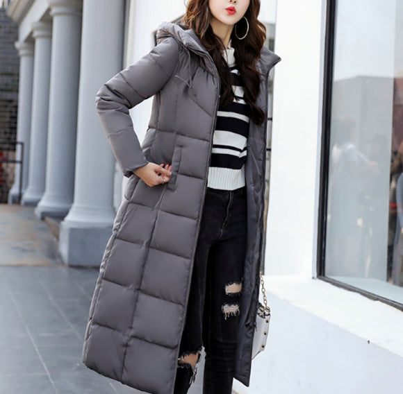 Womens Hooded Long Puffer Coat