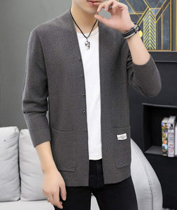 mens gray polyester vegan friendly street style cardigan sweater