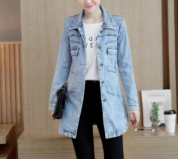 womens light blue long denim jacket - AmtifyDirect