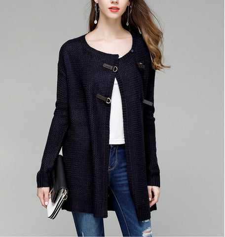 Womens Knit Cardigan with Faux Leather Details