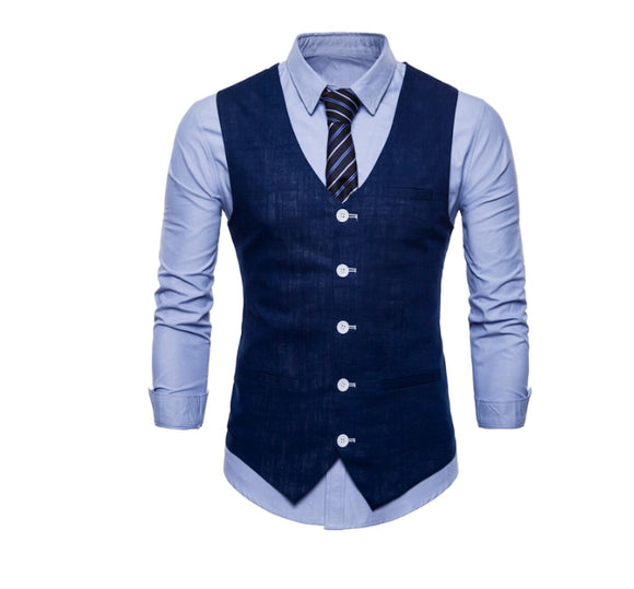 Mens Linen Vest - AmtifyDirect