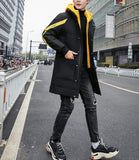 Mens Long Coat with Hoodie
