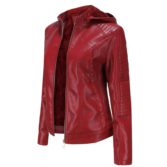 Faux Leather Hooded Jacket with Warm Lining